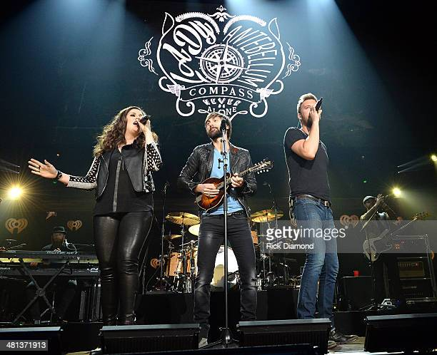 Recording artists Hillary Scott Dave Haywood and Charles Kelley of Lady Antebellum perform onstage during iHeartRadio Country Festival in Austin at...