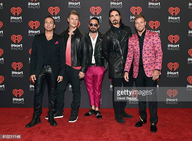 Recording artists Howie Dorough Nick Carter A J McLean Kevin Richardson and Brian Littrell attend the 2016 iHeartRadio Music Festival at TMobile...