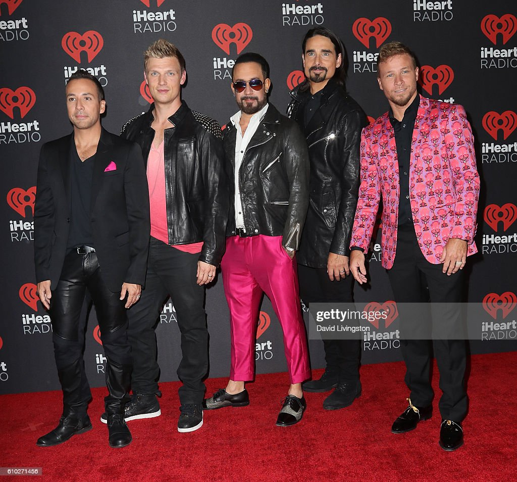 Recording artists Howie Dorough, Nick Carter, A. J. McLean, Kevin Richardson and Brian Littrell of the Backstreet Boys attend the 2016 iHeartRadio Music Festival Night 2 at T-Mobile Arena on September 24, 2016 in Las Vegas, Nevada.