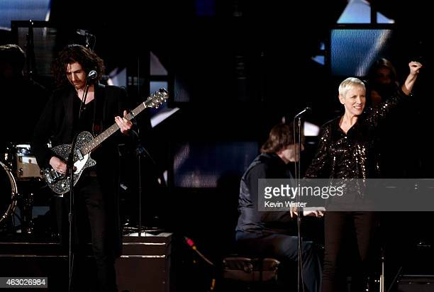 Recording artists Hozier and Annie Lennox perform onstage during The 57th Annual GRAMMY Awards at the STAPLES Center on February 8 2015 in Los...