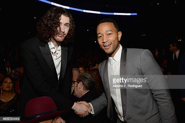 Recording artists Hozier and John Legend attend The 57th Annual GRAMMY Awards at STAPLES Center on February 8 2015 in Los Angeles California