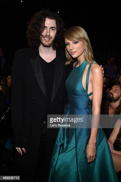 Recording Artists Hozier and Taylor Swift attend The 57th Annual GRAMMY Awards at the STAPLES Center on February 8 2015 in Los Angeles California