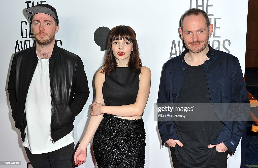 Recording artists Iain Cook, Lauren Mayberry and Martin Doherty of Chvrches arrive at The Game Awards 2015 at Microsoft Theater on December 3, 2015 in Los Angeles, California.
