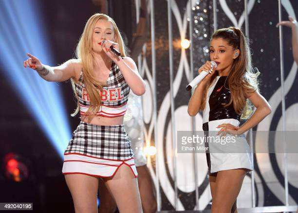 Recording artists Iggy Azalea and Ariana Grande perform onstage during the 2014 Billboard Music Awards at the MGM Grand Garden Arena on May 18 2014...