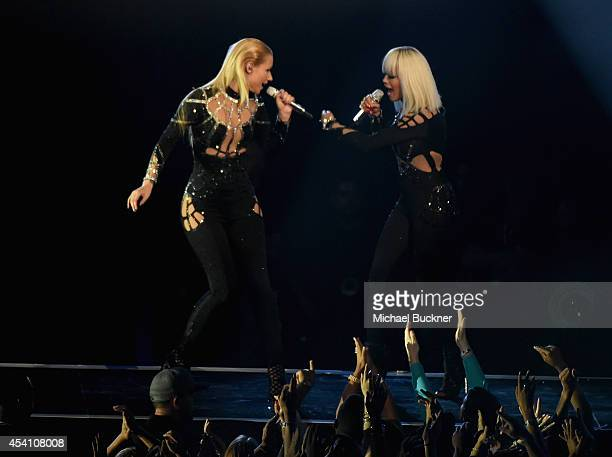 Recording artists Iggy Azalea and Rita Ora perform onstage during the 2014 MTV Video Music Awards at The Forum on August 24 2014 in Inglewood...