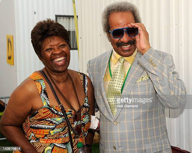 Recording Artists Irma Thomas and Allen Toussaint backstage during the 2012 New Orleans Jazz Heritage Festival Day 7 at the Fair Grounds Race Course...