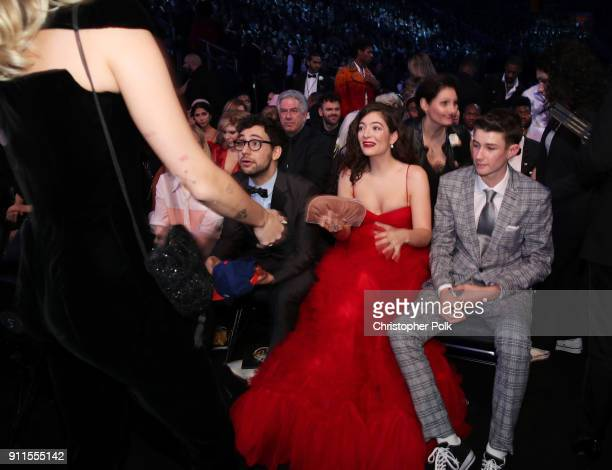 Recording artists Jack Antonoff Lorde and Angelo YelichO'Connor attend the 60th Annual GRAMMY Awards at Madison Square Garden on January 28 2018 in...