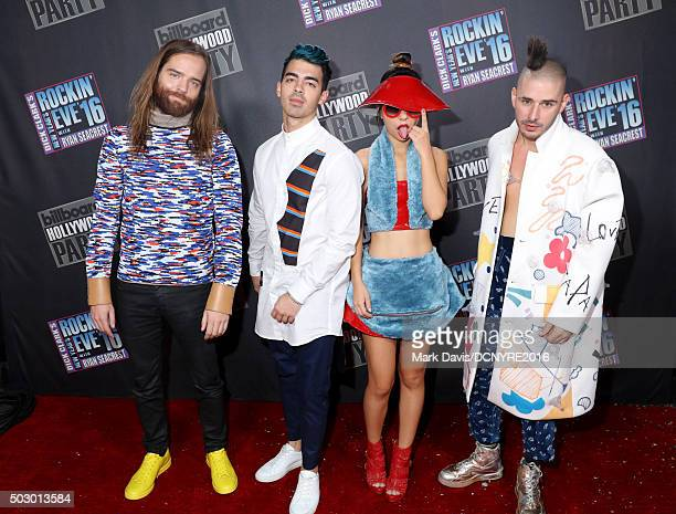 Recording artists Jack Lawless Joe Jonas JinJoo Lee and Cole Whittle of DNCE attend Dick Clark's New Year's Rockin' Eve with Ryan Seacrest 2016 on...