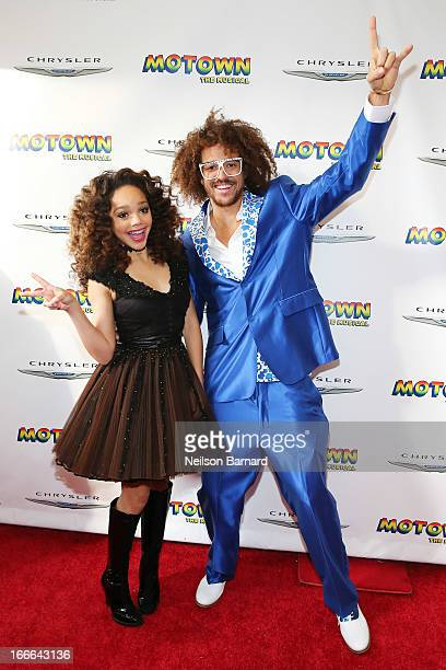 "Recording artists Jada Grace and Stefan Kendal Gordy aka RedFoo attend the Broadway opening night for ""Motown: The Musical"" at Lunt-Fontanne Theatre..."
