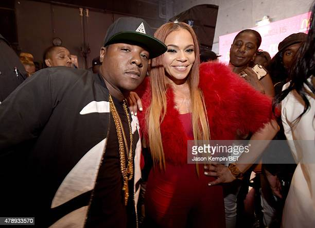 Recording artists Jadakiss and Faith Evans pose backstage during the 2015 BET Awards at the Microsoft Theater on June 28 2015 in Los Angeles...