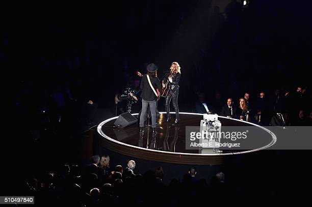 Recording artists James Bay and Tori Kelly perform onstage during The 58th GRAMMY Awards at Staples Center on February 15 2016 in Los Angeles...