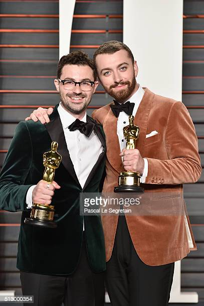 Recording artists James Napier and Sam Smith attend the 2016 Vanity Fair Oscar Party Hosted By Graydon Carter at the Wallis Annenberg Center for the...