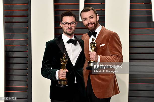 Recording artists James Napier and Sam Smith attend the 2016 Vanity Fair Oscar Party hosted By Graydon Carter at Wallis Annenberg Center for the...