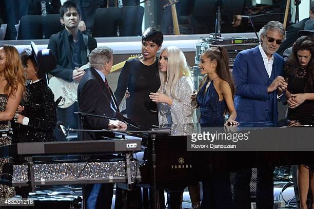 Recording artists Janelle Monae Tony Bennett Jennifer Hudson Lady Gaga Ariana Grande and Andrea Bocelli perform onstage during Stevie Wonder Songs In...