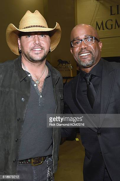 Recording artists Jason Aldean and Darius Rucker attend the 51st Academy of Country Music Awards at MGM Grand Garden Arena on April 3 2016 in Las...