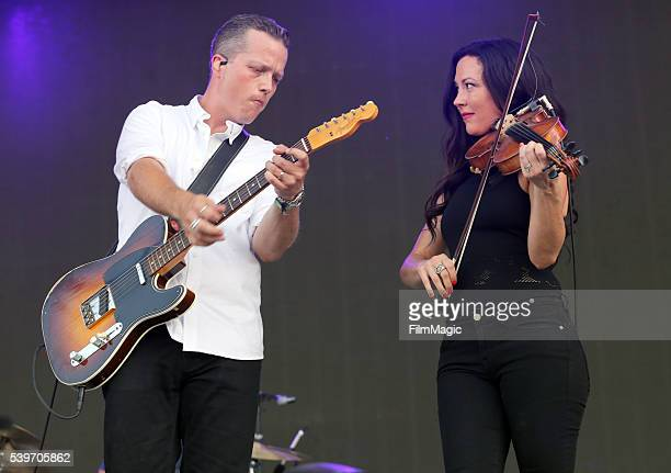 Recording artists Jason Isbell and Amanda Shires perform onstage at What Stage during Day 4 of the 2016 Bonnaroo Arts And Music Festival on June 12...