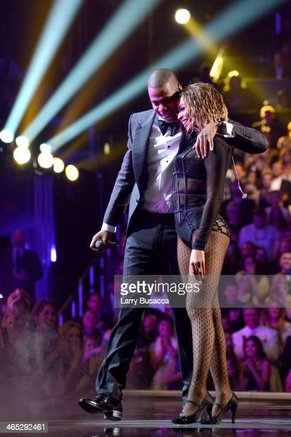 Recording artists Jay Z and Beyonce perform onstage during the 56th GRAMMY Awards at Staples Center on January 26 2014 in Los Angeles California