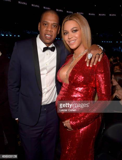 Recording artists Jay Z and Beyonce pose during The 59th GRAMMY Awards at STAPLES Center on February 12, 2017 in Los Angeles, California.