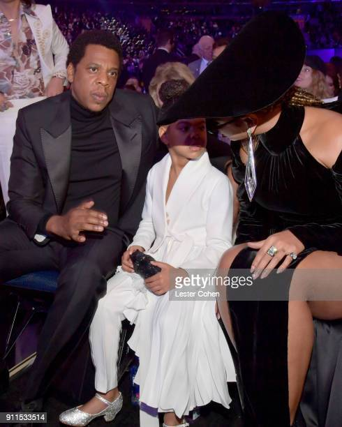 Recording artists Jay Z Blue Ivy Carter and Beyonce attend the 60th Annual GRAMMY Awards at Madison Square Garden on January 28 2018 in New York City