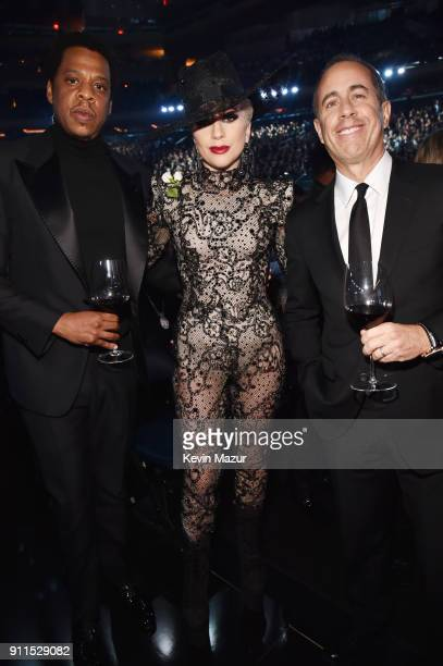 Recording artists Jay Z Lady Gaga and comedian Jerry Seinfeld attend the 60th Annual GRAMMY Awards at Madison Square Garden on January 28 2018 in New...