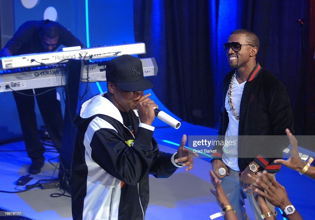 Recording artists Jay-Z (L) and Kanye West appear on BET's 106 & Park at BET Studios September 11, 2007 in New York City.