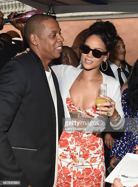 Recording artists JayZ and Rihanna attend Roc Nation and Three Six Zero PreGRAMMY Brunch 2015 at Private Residence on February 7 2015 in Beverly...
