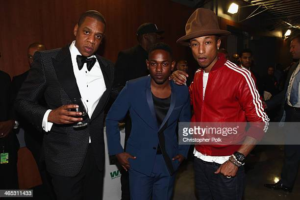 Recording artists JayZ Kendrick Lamar and Pharrell Williams attend the 56th GRAMMY Awards at Staples Center on January 26 2014 in Los Angeles...