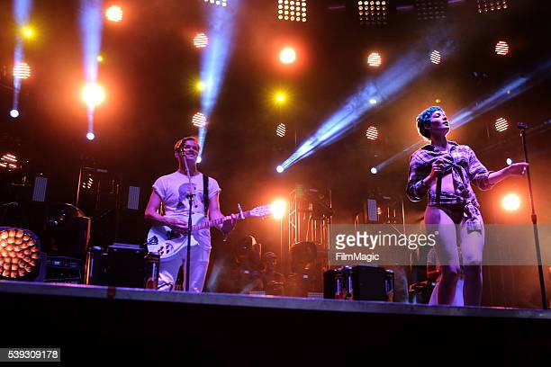 Recording artists JeanPhilip Grobler of St Lucia and Halsey perform onstage at Which Stage during Day 2 of the 2016 Bonnaroo Arts And Music Festival...