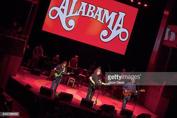 Recording Artists Jeff Cook Randy Owen and Teddy Gentry of Alabama perform onstage during The Big Gig Alabama Concert at CMA Theater at the Country...