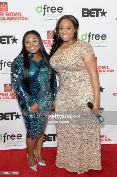 Recording artists Jekalyn Carr and Kierra Sheard attend the BET Presents Super Bowl Gospel Celebration at Lakewood Church on February 3 2017 in...