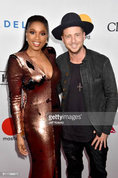 Recording artists Jennifer Hudson and Ryan Tedder of OneRepublic attend the Clive Davis and Recording Academy PreGRAMMY Gala and GRAMMY Salute to...