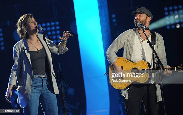 Recording Artists Jennifer Nettles and Kristain Bush of Sugarland perform onstage during Day 1 of rehearsals at Bridgestone Arena on June 7, 2011 in...