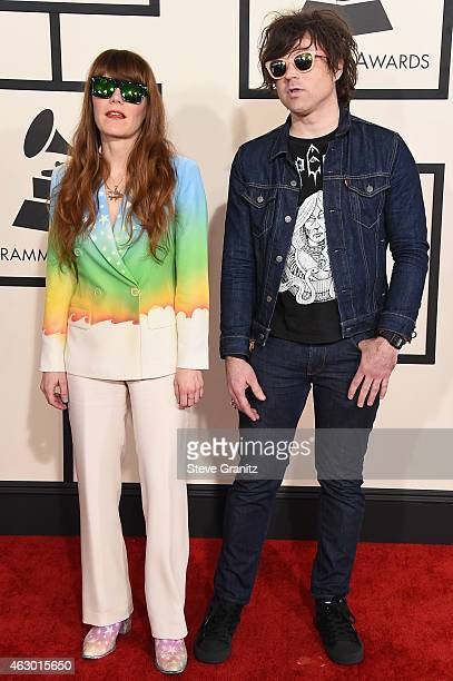 Recording artists Jenny Lewis and Ryan Adams attend The 57th Annual GRAMMY Awards at the STAPLES Center on February 8 2015 in Los Angeles California