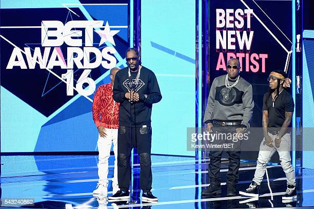 Recording artists Jermaine Dupri Snoop Dogg Birdman and Jacquees speak onstage during the 2016 BET Awards at the Microsoft Theater on June 26 2016 in...