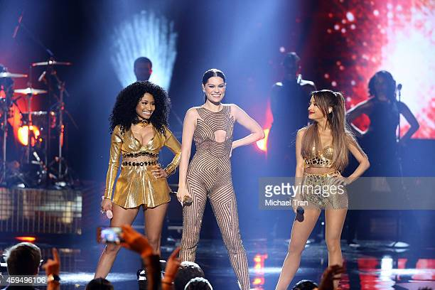 Recording artists Jessie J Nicki Minaj and Ariana Grande perform onstage during the 2014 American Music Awards held at Nokia Theatre LA Live on...