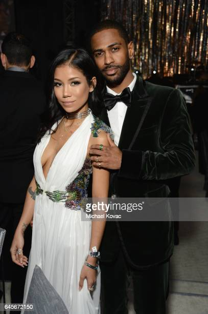 Recording artists Jhene Aiko and Big Sean attend the 25th Annual Elton John AIDS Foundation's Academy Awards Viewing Party at The City of West...