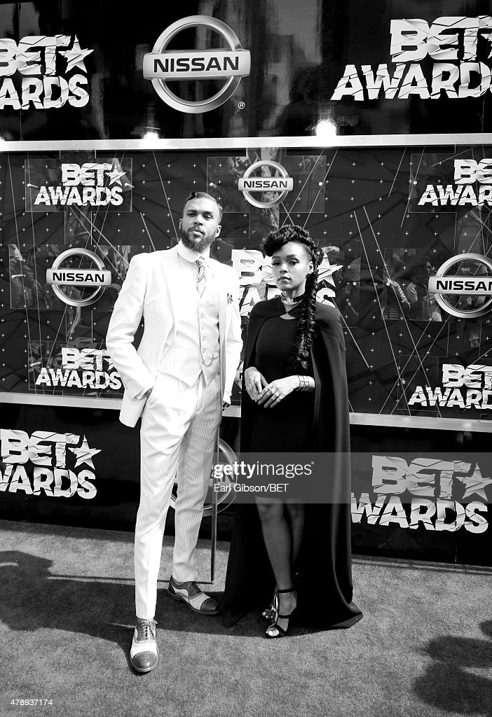 Recording artists Jidenna (L) and Janelle Monae attend the 2015 BET Awards at the Microsoft Theater on June 28, 2015 in Los Angeles, California.