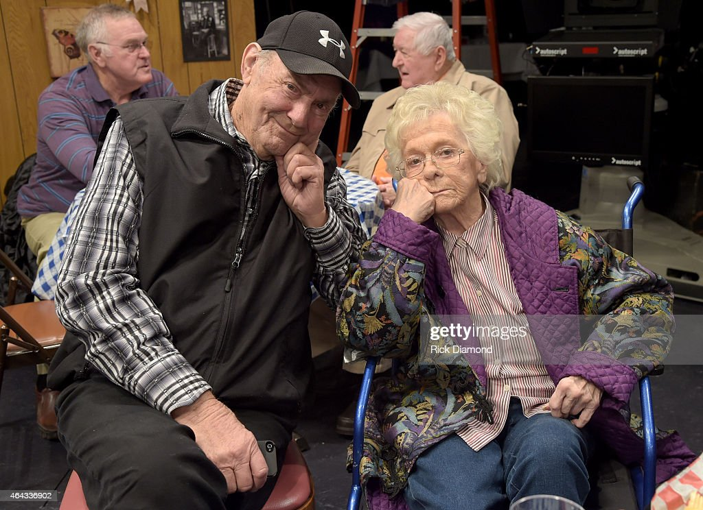Recording Artists Jim Ed Brown and Recording Artist/Member of the Grand Ole Opry Jean Shepard attends the RFD TV taping of 'Larry's Country Diner' Day 1, at NorthStar Studios on February 23, 2015 in Nashville, Tennessee.