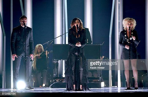 Recording artists Jimi Westbrook Karen Fairchild and Kimberly Schlapman of music group Little Big Town perform onstage during The 58th GRAMMY Awards...