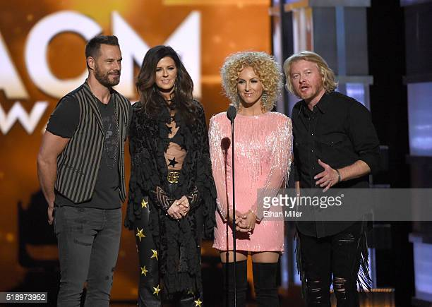 Recording artists Jimi Westbrook Karen Fairchild Kimberly Schlapman and Philip Sweet of music group Little Big Town speak onstage during the 51st...
