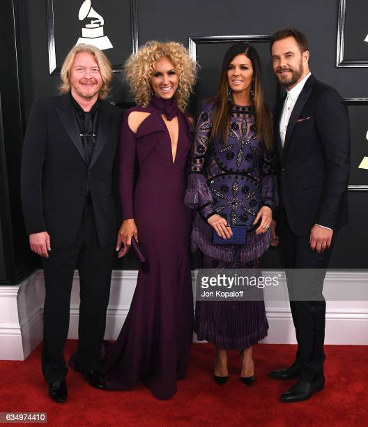 Recording artists Jimi Westbrook Karen Fairchild Kimberly Schlapman and Philip Sweet of Little Big Town attend The 59th GRAMMY Awards at STAPLES...