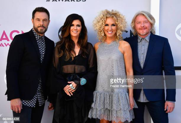 Recording artists Jimi Westbrook Karen Fairchild Kimberly Schlapman and Phillip Sweet of music group Little Big Town attend the 52nd Academy Of...