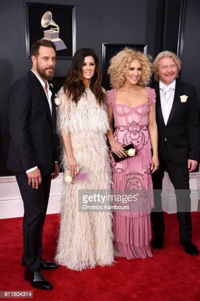 Recording artists Jimi Westbrook Karen Fairchild Kimberly Schlapman and Philip Sweet of musical group Little Big Town attend the 60th Annual GRAMMY...