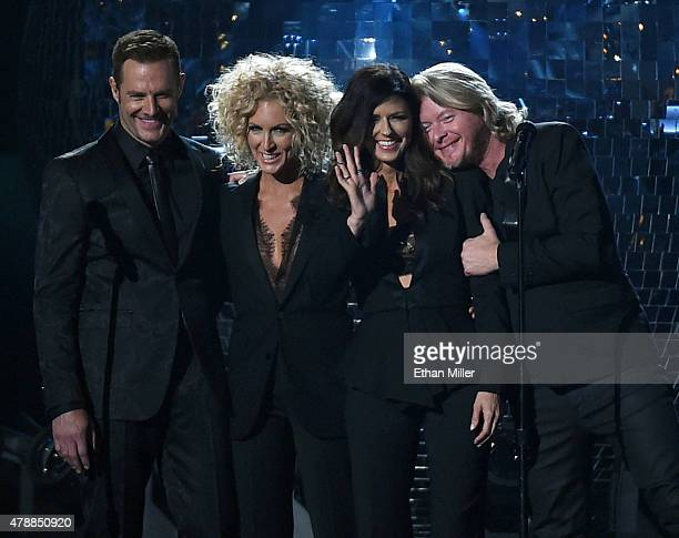 Recording artists Jimi Westbrook Kimberly Schlapman Karen Fairchild and Phillip Sweet of Little Big Town perform during the 50th Academy of Country...