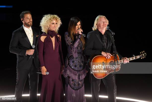 Recording artists Jimi Westbrook Kimberly Schlapman Karen Fairchild and Philip Sweet of music group Little Big Town speak onstage during The 59th...