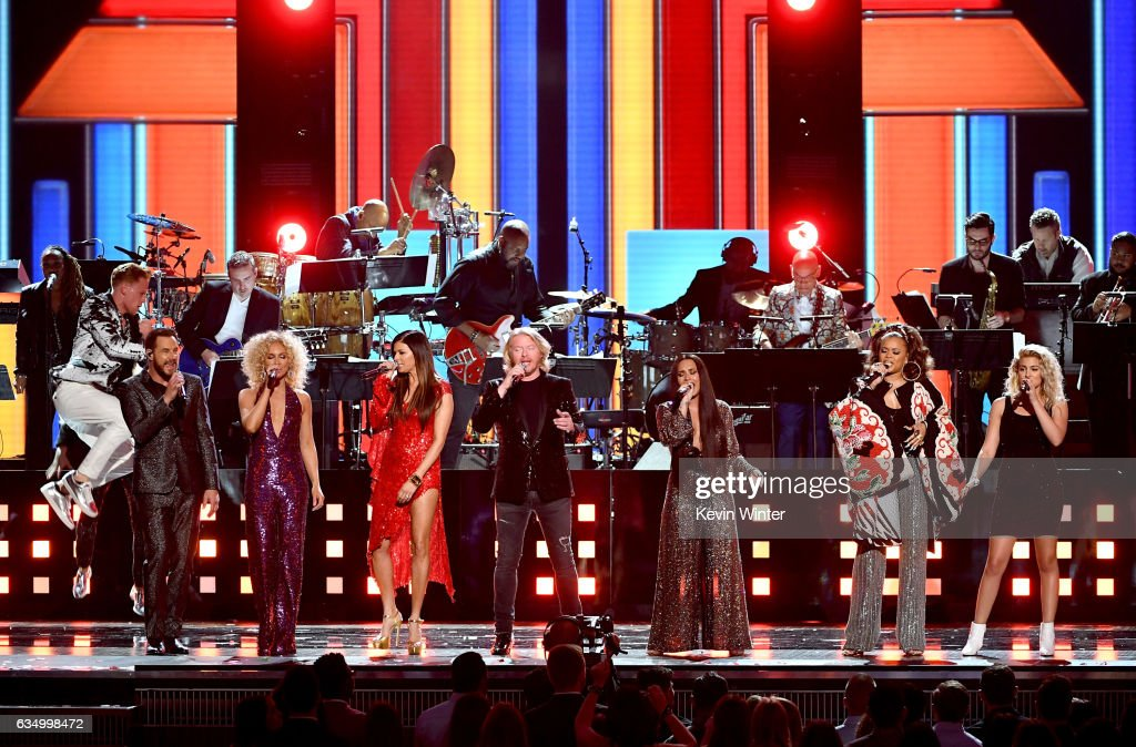 Recording artists Jimi Westbrook, Kimberly Schlapman, Karen Fairchild, and Philip Sweet of music group Little Big Town, and recording artists Demi Lovato, Andra Day, and Tori Kelly perform onstage during The 59th GRAMMY Awards at STAPLES Center on February 12, 2017 in Los Angeles, California.