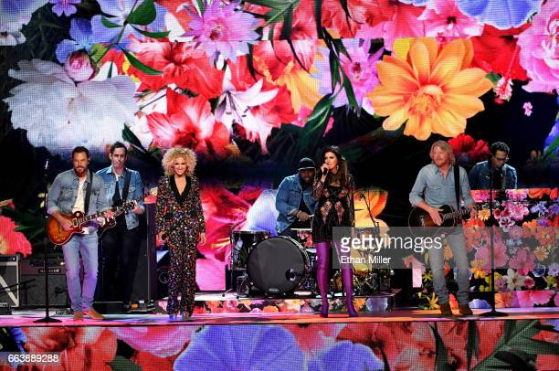 Recording artists Jimi Westbrook Kimberly Schlapman Karen Fairchild and Phillip Sweet of music group Little Big Town perform onstage during the 52nd...