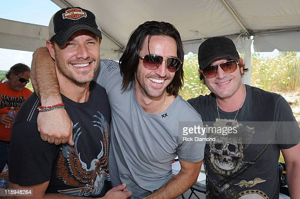Recording Artists Jimi Westbrook of Little Big Town Jake Owen and Jerrod Niemann backstage at the 5th annual Ride for a Cure Afternoon Jam hosted by...