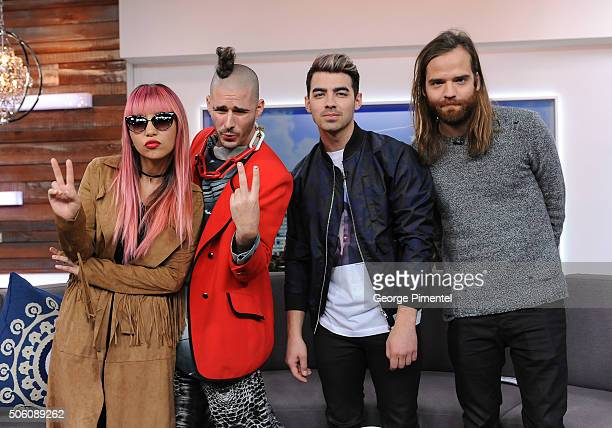 Recording artists JinJoo Lee Cole Whittle Joe Jonas and Jack Lawless of DNCE appear on 'The Social' at Bell Media Building on January 21 2016 in...