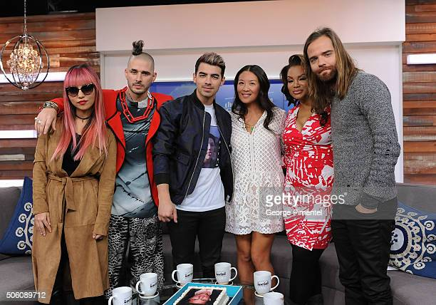Recording artists JinJoo Lee Cole Whittle Joe Jonas of DCNE hosts Lainey Lui and Traci Melchor and Jack Lawless of DCNE appear on 'The Social' at...